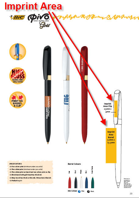 Printed Pen Brand Imprint Areas