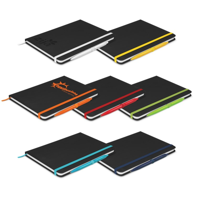 Black Notebook with coloured trim and matching coloured pen