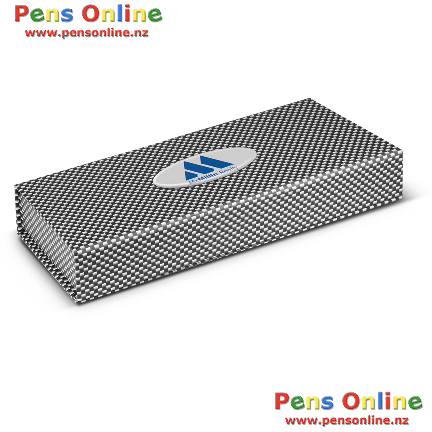 Pen Gift Boxes - Luxury Flat-Top Gift Boxes - Carbon fibre - Carbon Fiber - with Resin-Coated Label