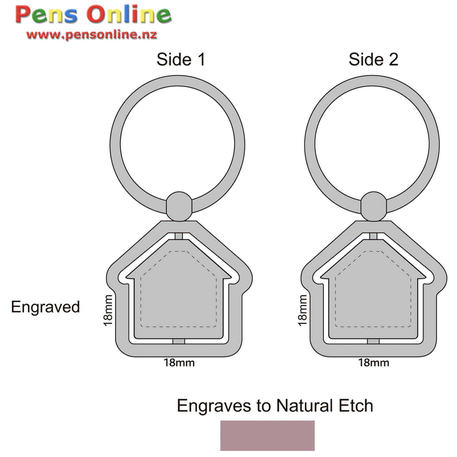 House Key Ring with Spinning / Rotating House - Template