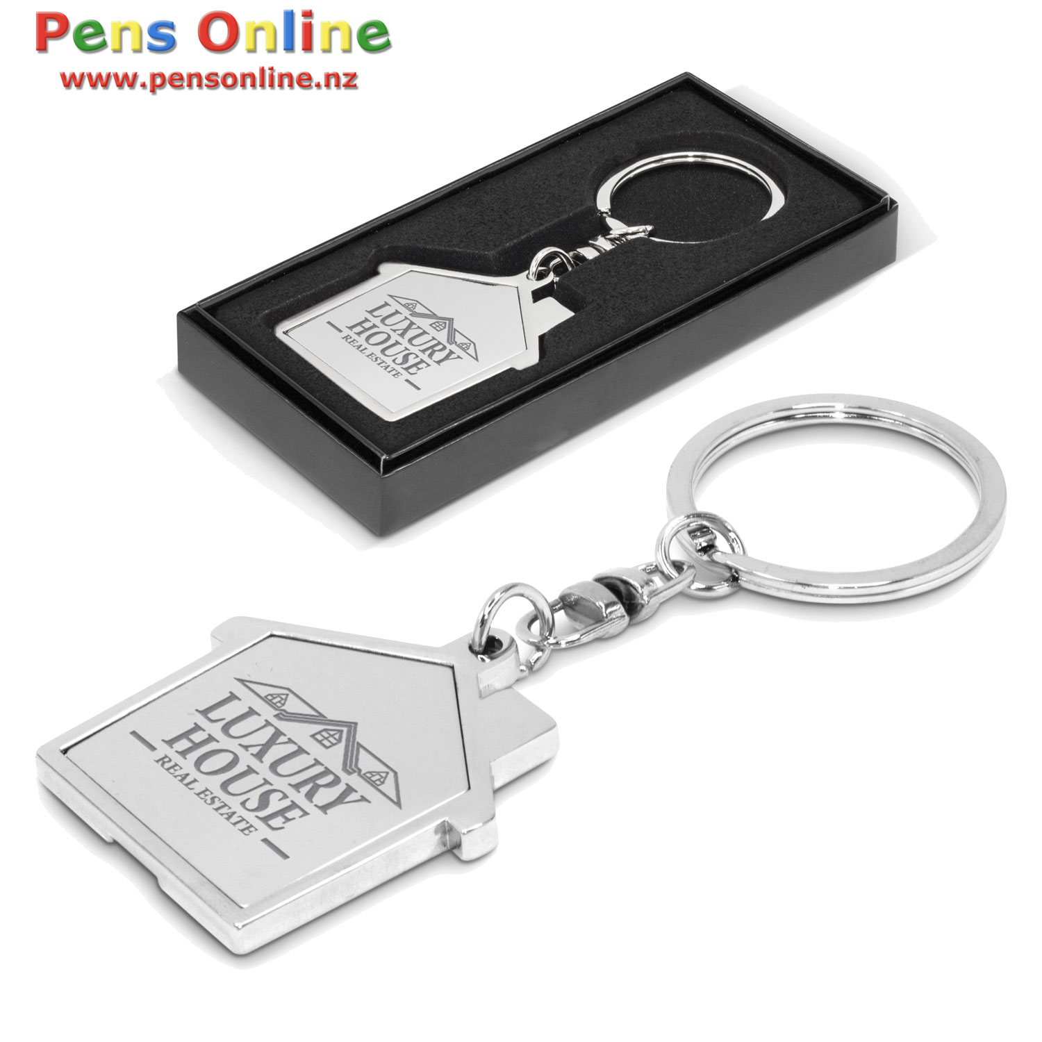 House Shaped Key Ring with Laser-Engraved
