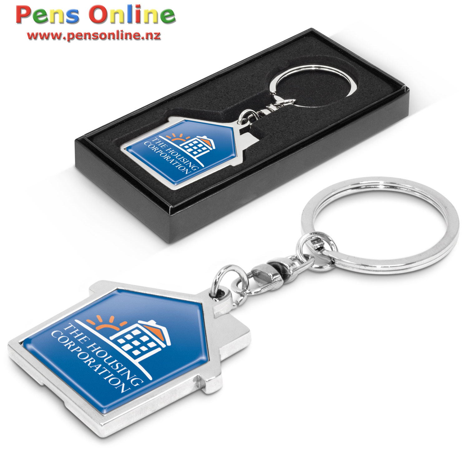 House Shaped Key Ring with Full-Colour Resin Label